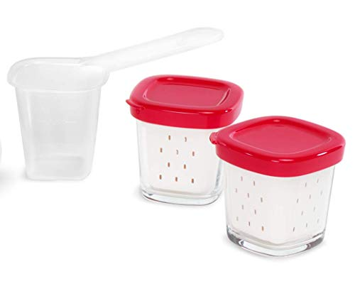 Tefal XF100501 - Set de 6 tarros Multidelice, color blanco y rojo