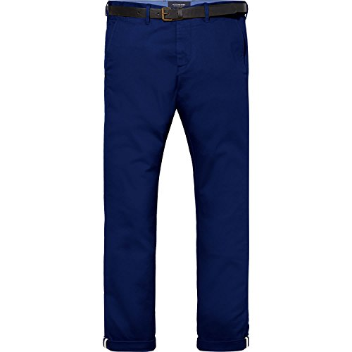 Scotch & Soda Herren Hose Stuart-Regular Slim Fit Chino in Peached Twill with Belt Yinmn Blue
