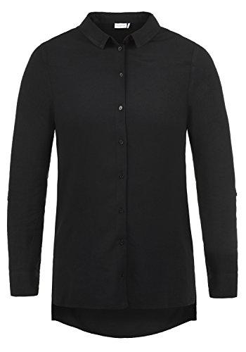ONLY Smilla Damen Lange Bluse Hemdbluse Langarm Mit Kragen Und Optionalen Nadelstreifen Loose Fit, Größe:40, Farbe:Black -