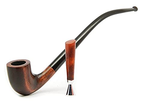 Dr. Watson & KAF - Tobacco smoking pipe set - HOBBIT - Hand Made, Wood, Long stem, Churchwarden (pipe+tamper+pouch) (Brown)