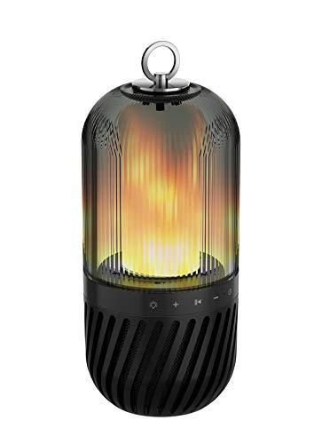 LED Bluetooth Lautsprecher, Tragbare Flammenlampe Lautsprecher, Laterne,OutdoorLagerfeuer Atmosphäre Echtes Feuerflair für Camping, Picknick, Terrasse, Balkon, Openair Party(Schwarz)
