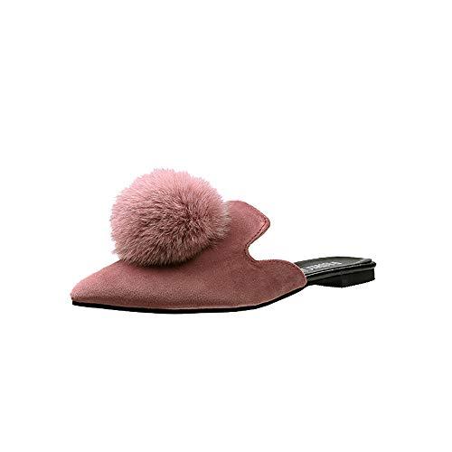 Schuhe Damen Stiefel SUNNSEAN Mode Einzelne Schuhe Frauen Fashion Solid Color Haar Ball Spitz Flache Ferse Sandalen Slipper Erbsenschuhe Boots