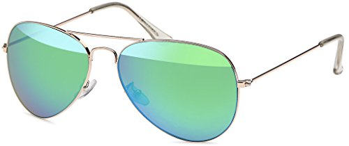 MOKIES Unisex Sonnenbrillen - UV400 Filterkategorie 3 CE Kennzeichnung - Pilotenbrille Fliegerbrille - Polycarbonat - Edelstahl - 504 grün