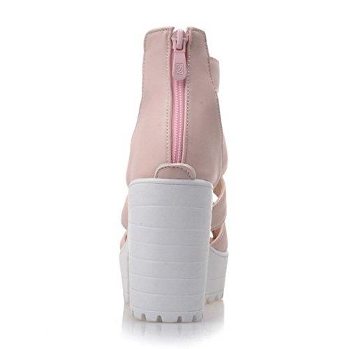COOLCEPT Damen Mode T-Spangen Sandalen Peep Toe Blockabsatz Plateau Schuhe Mit Zipper Rosa
