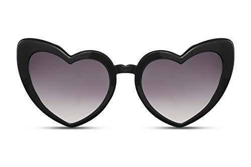 Cheapass Sonnenbrille Herz-Förmig Schwarz UV-400 Cat-Eye Katzenauge Designer-Brille Plastik Damen Frauen