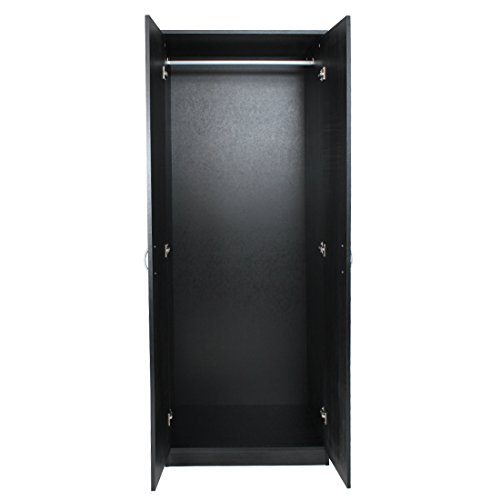 Devoted2Home Budget Bedroom Furniture with 2-Door Wardrobe, Wood, Black Ash, 49.8 x 66.8 x 180 cm