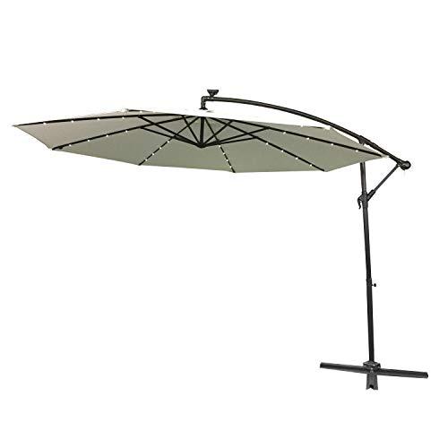 Aufun Alu Sonnenschirme 350cm mit Solarbetriebene Weiß LED UV Schutz 40+ - Beige balkonschirm gartenschirm höhenverstellbarer (Beige mit solar LED)