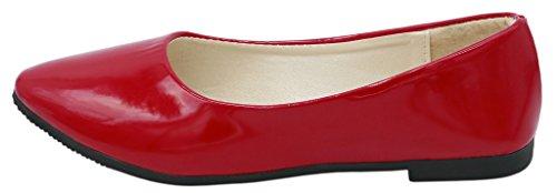 AgeeMi Shoes Femme Luccichio Bout Pointue Chaussures à Plat Rouge