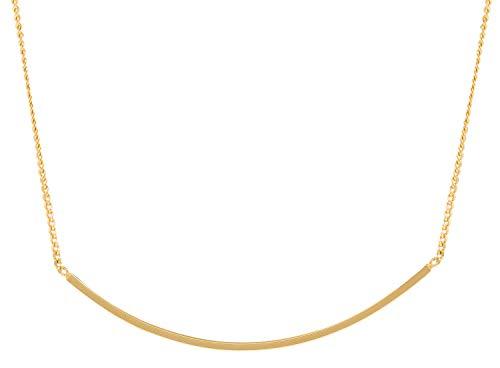 Charlotte Wooning Damen Kette Round Stripe Gold Stab Anhänger Gebogen Silber Vergoldet NRSg