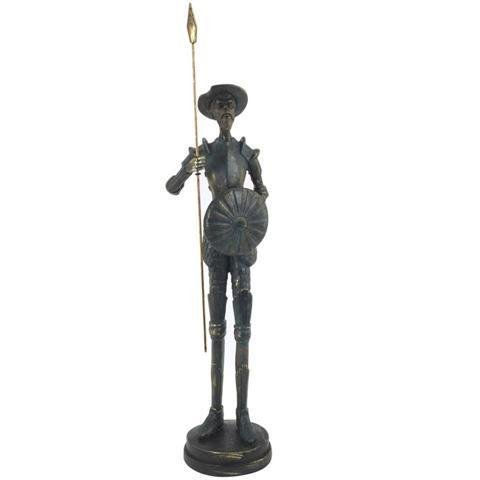 Figure Don Quijote of Standing Resin Bronze. 43 x 10 x 10 cm.