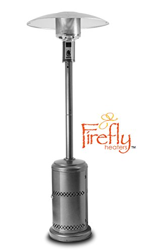 Firefly 12kW Premium Garden Outdoor Gas Patio Heater Powder Coated Steel in Silver with Canister Door and Wheels