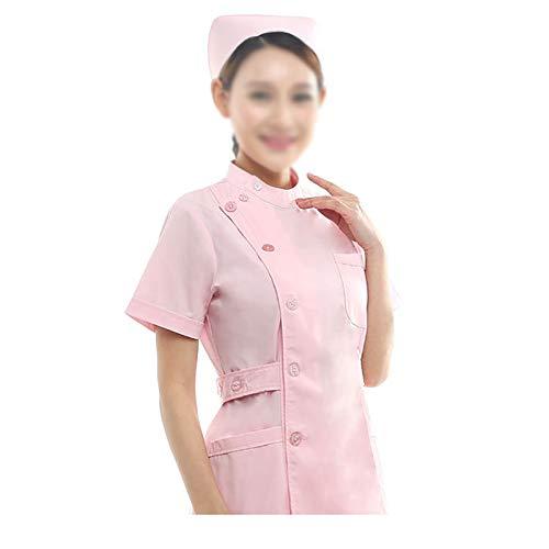 CX ECO Medizinische Uniform Krankenschwesteranzug für Frauen Gesundheitswesen Bequeme Arbeitskleidung mit Rundhalsausschnitt und 3 Taschen Medical Scrubs Top und Hose,Pink,XL -