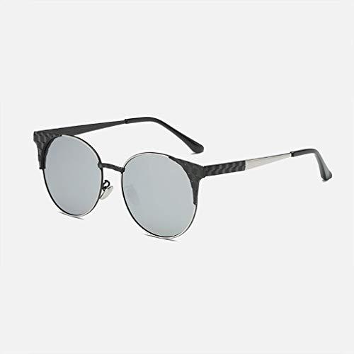 MWPO Polarisierte Sonnenbrille New runde Rahmen Fahren Outdoor Tourismus einkaufen Farbe objektiv Metall persönlichkeit Komfort rutschfeste männer und Frauen Brille (Farbe: Silber Rahmen Silber l