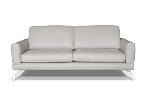 Alkove Modena - canapé moderne en cuir, 3places, MINÉRAL