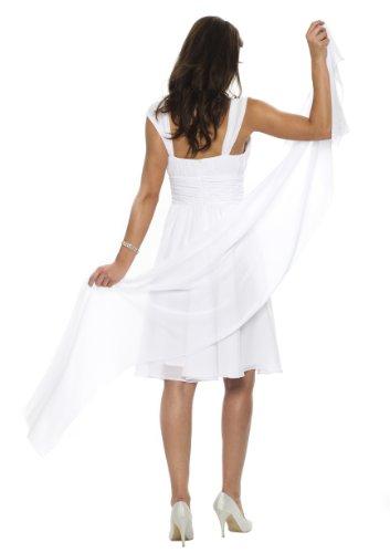 Astrapahl, châle en mousseline de soie, étole, écharpe pour robe de soirée, de différentes couleurs, taille 45 x 180 cm Blanc