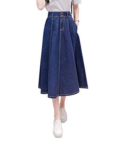 42327ffdfb DianShaoA Mujeres Falda Denim Cintura Alta Vaquera Mujer De Mezclilla  Plisada Largas De Fiesta Azul Marino
