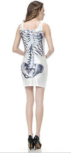 Thenice - Robe - Trapèze - Sans Manche - Femme Multicolore SKULL BLACK Taille Unique White skeleton