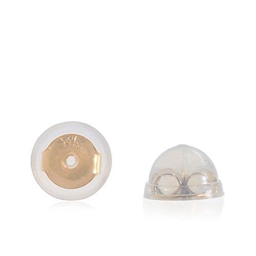 Silikon & 14k Gold Ohrringe Stopper Klein Gelb 1 - Gold-ohrring-stopper