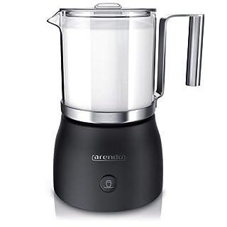 Arendo - Milchaufschäumer elektrisch inkl. abnehmbaren Glasaufsatz Milkstar   Milk Frother   BPA-frei   einfache Bedienung durch 1-Sensortaste für Warm- und Kaltaufschäumen