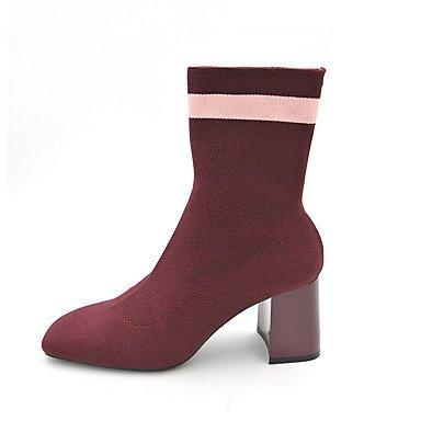 Da donna Scarpe A maglia Inverno Stivali Stivaletti Stivaletti/tronchetti Per Casual Nero Rosso red
