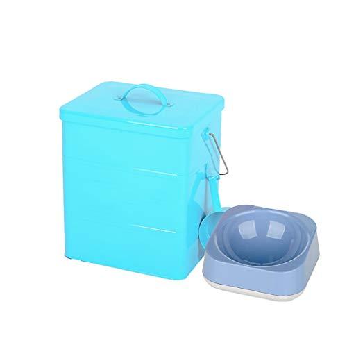 Pet Food Bin mit Pet Bowl Tierfutter-Behälter Pet Food Storage-Dose Lagerplätze Food Storage Container 1 Tasse gemessen Scoop (Farbe : Blau, größe : 5L Square barrel) -