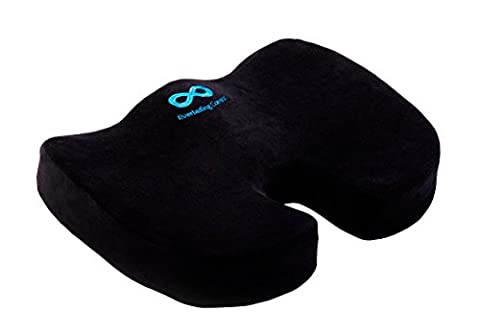 Everlasting Comfort 100% Pure Memory Foam Luxury Seat Cushion, Orthopedic Design To Relieve Back, Sciatica and Tailbone Pain