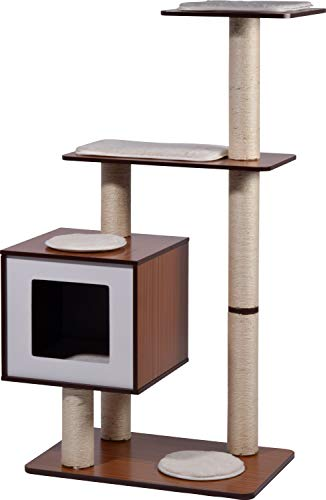 """XXL-Katzenmöbel\""""Sammy\"""" mit 5 Kratzsäulen 4 Liegeflächen, Katzenhöhle mit flauschigem Katzenbett, 68 x 40 x 120 cm, braun/weiß"""