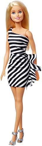 Mattel barbie 60° anniversario, bambola con vestito a righe bianco e nero, giocattolo per bambini 3 + anni, gjf85