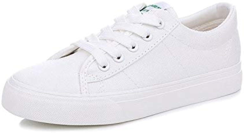 Hasag Zapatos de Lona Zapatos Deportivos Zapatos Planos Blancos Casual Estudiante, 40, Blanco