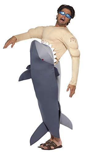 Menschenfressender Hai Herrenkostüm mit Hai Bodysuit und Schwimmbrille, One Size