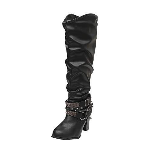 Sunnyuk Damen Große Größe Stiefel Hohe Tube Einfarbig Leder Spitz Winter Tragbares Bankett Hochhackige Mode Größe 35-43