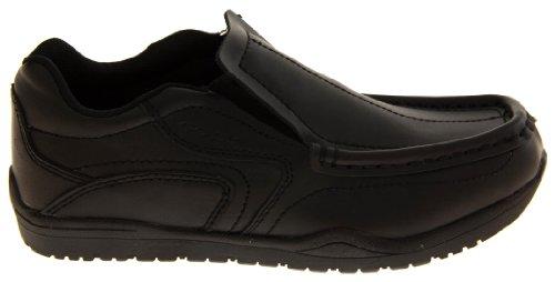 Gola Cuir Enduit Chaussures de l'école Formelle Garçons Noir (slip On)