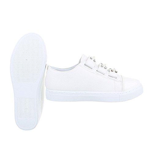 Ital-Design Sneakers Low Damenschuhe Sneakers Low Sneakers Klettverschluss Freizeitschuhe Weiß AB-159