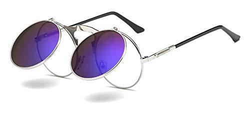Sonnenbrille Retro Dampf Runde Sonnenbrille Für Männer Schwarz Gold Metall Rahmen Aufklappbare Sonne Silber Gläser Mit Blau Für Frauen Zubehör Uv400
