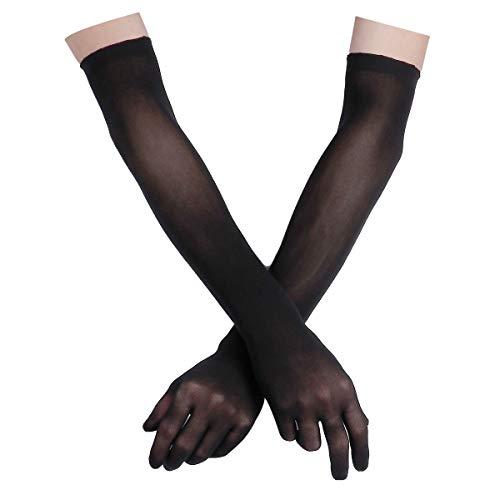 FEESHOW Damen Nahtlose Handschuhe Stulpenärmel Elastisch Strumpfhosen Nylon Durchsichtig Ellenbogen Lang für Hochzeit Abend Schwarz One Size Damen Nylon-handschuhe