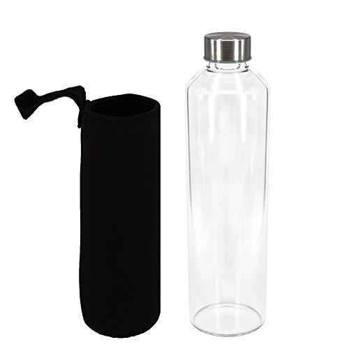 Sunkey Bottiglia Aqua 1L in Vetro Borosilicato Trasparente con Neoprene Custodia Bpa Free