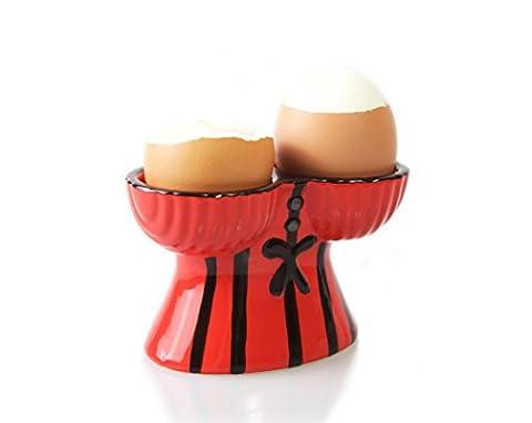 Korsett Doppel Eierbecher | Perfekt für Vatertag | Lustige Geschenke für Männer - Design mit sexy viktorianischem Oberteil; sicherer Halt für zwei hart- oder weichgekochte Eier | Blu Devil
