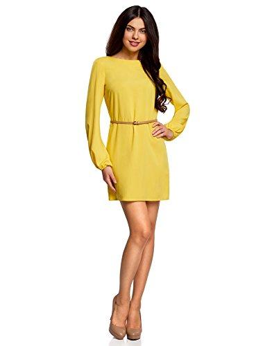 oodji Ultra Damen Viskose-Kleid Basic mit Gürtel, Gelb, DE 38 / EU 40 / (Gelb Casual Kleid)
