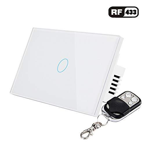 AOEIUV US-Standard 1 Gang 1-Wege-Fernbedienung Touch-Schalter Fernbedienung Wand Lichtschalter mit Cystal Glasscheibe,White -
