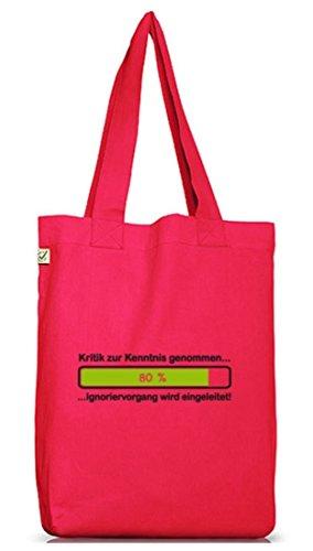 Shirtstreet24, Kritik zur Kenntnis genommen..., Jutebeutel Stoff Tasche Earth Positive Hot Pink
