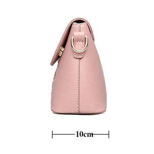 Sacchetto Di Spalla Del Sacchetto Del Messaggero Del Ricamo Della Signora Di Modo Coreano Femminile,Black Pink