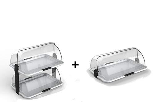 youhome Kit 2 Pezzi POLYBOX Vetrina Dolci espositiva Made Italy espositore Porta Pane panini Torte Croissant brioches Formaggi cibi freschi salumi