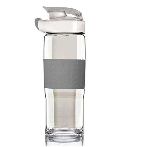 BONISON Trinkflasche mit Klappdeckel, Silikon, breite Öffnung, Ausgießer, BPA-frei, bleifrei, mit Klappdeckel, Auslaufkappe mit Tragegriff, 18,5 oz, flip top Wide Mouth Glass Bottle, grau, 18.5 oz