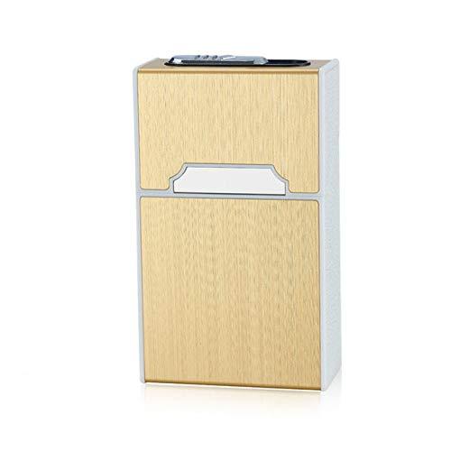 Ciagrette Halter Box mit abnehmbarem USB Elektronik Feuerzeug Flammenlos Winddicht Tabak Zigarettenetui & Feuerzeug, Gold