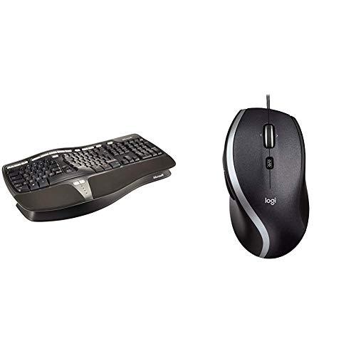 Microsoft Natural Ergnomic Keyboard 4000 (Deutsch), USB-Anschluss (Verpackung für Unternehmen) & Logitech M500 kabelgebundene USB Corded Lasermaus (Kompatible mit Windows, Mac)