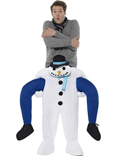 Frosty Kostüm Schneemann - costumebakery - Herren Männer Kostüm Huckepack Mann auf Schneemann, Piggyback Frosty Snowman, perfekt für Weihnachten Karneval und Fasching, One Size, Weiß