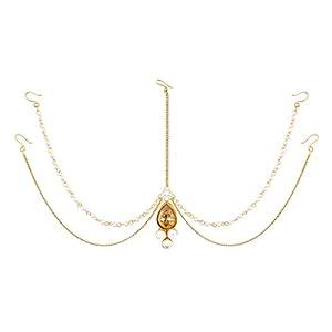 I Jewels - Gioiello tradizionale indiano da donna, per capelli, maang tikka Mathapatti, con perle e pietre, rif. T1083LW, colore: Oro