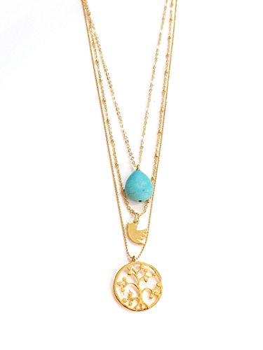 Dreilagige Statement Halskette mit 3 Anhänger - in Türkis & Gold - Stein Lebensbaum Vogel Taube Wasserfall