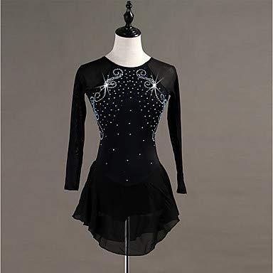 Heart&M Eiskunstlauf Kleid Für Mädchen Und Frauen, Handgefertigt Eislauf Wettbewerbs Eislaufen Kostüm Langärmlige Trikots Mit Hochwertiger Tunika Aus Kristallen Rollschuhkleid, Schwarz