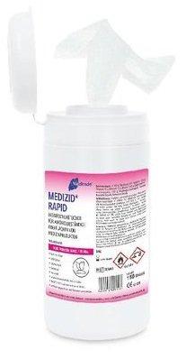 Meditrade 00942D Medizid Rapid Desinfektionstücher, 15 cm Breite x 18 cm Länge, Nachfüllpackung Dose, 20 Beutel á 150 Tücher Test